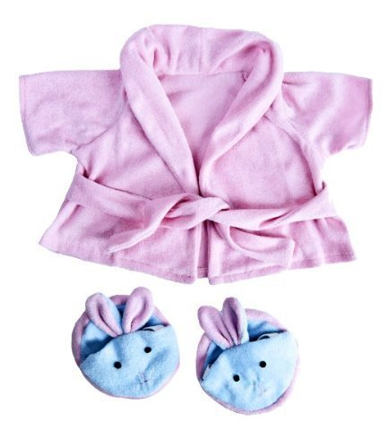 Pink Bathrobe with Bunny Slippers Teddy Bear Clothes Outfit Fits Most 14 - 18 Build-A-Bear, Vermont Teddy Bears, and Make Your On Stuffed Animals by Stuffems Toy Shop (Bunny Build A Bear)