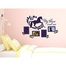 Pegatinas de pared Marcos de cuadros Tatuajes de pared habitación chica Caballo (Tamaño=90x57cm//Color=042 Lila)