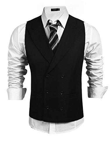 Coofandy Herren Weste Slim Fit Einreiher/Zweireiher mit 9 Knöpfen Gilet Business Casual Klassisch Basic Männer Anzugweste für Herren