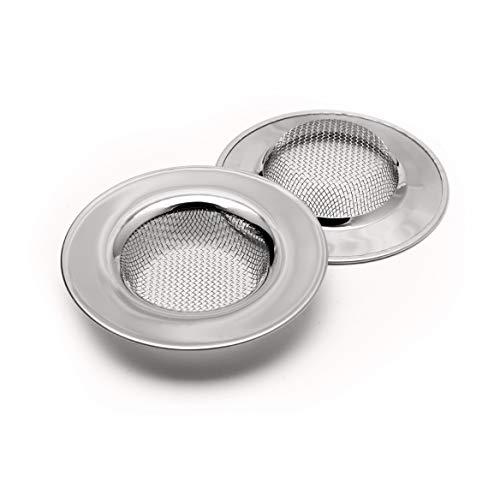2 Stück Edelstahl Abflusssieb/Haarsieb für Dusche, Spüle, Waschbecken und Badewanne - Ø 7,7cm (Sieb Badewanne)