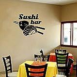 Qbbes Restaurant Wall Decal Sushi Food Wall Sticker Chopsticks Rice Wall Window Sushi Bar Decoration Vinyl Wall Art 57X40Cm