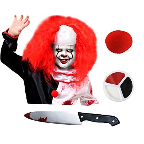 ruselkiller Slasher Clown Kostüm Set Perücke Nasenmesser Make-up Halloween Kostüm Zubehör ()