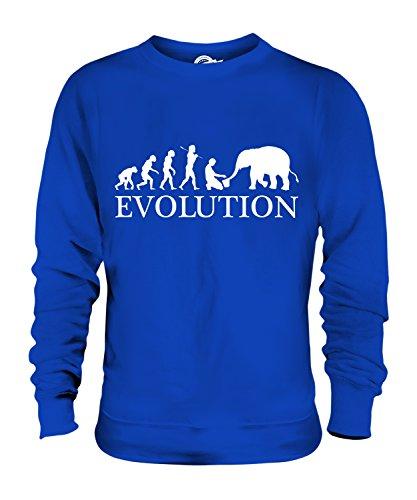 Candymix Elefant Pfleger Evolution des Menschen Unisex Herren Damen Sweatshirt, Größe 2X-Large, Farbe Königsblau (Zoo Keeper Kostüm Herren)
