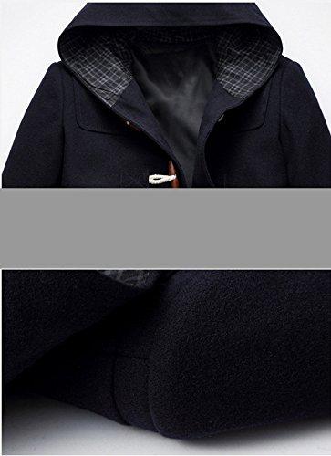 BININBOX® Herren Wolljacke kurzer Wollmantel mit Kapuze Horn-Knopf Winterjacke Slim Fit Gefüttert in Schwarz/Dunkelblau Dunkelblau