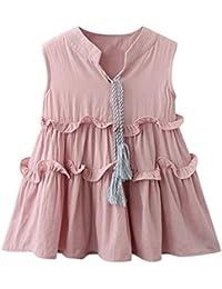 Mitlfuny Primavera Verano Niñas Bebé Vestidos Oreja de Madera Faldas Sin  Manga Encaje Borla Vestido Lindo Bautizo Princesa Vestir… 8784dda72e9