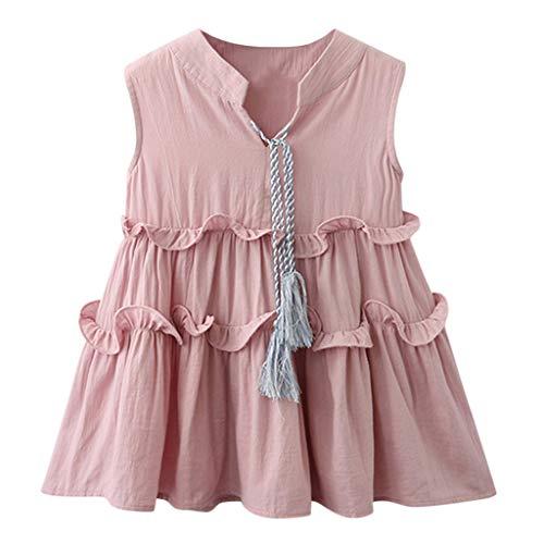 KIMODO Kleinkind Baby Mädchen Kleid Rüschen Einfarbig Kleider Ärmellos Tüll Tütü Urlaub Prinzessin Sommerkleid Outfit Kleidung (Cool, Zurück Schule Zu Kleidung)
