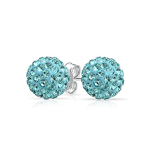 Simulated Aquamarine Crystal Shamballa Inspired 925 Silver Stud Earrings 8mm