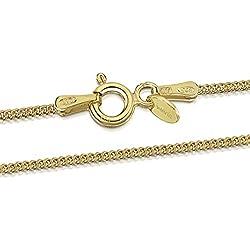 Amberta® Bijoux - Collier - Chaîne Argent 925/1000 - Plaqué Or 18K - Maille Gourmette - Largeur 1.3 mm - Longueur 40 45 50 55 60 70 cm (70cm)