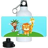 Trinkflasche mit Namen Dora und Tier-Motiv mit AFFE, Elefant, Löwe und Giraffe für Mädchen | Motiv-Trinkflasche | Kinder-Aluflasche