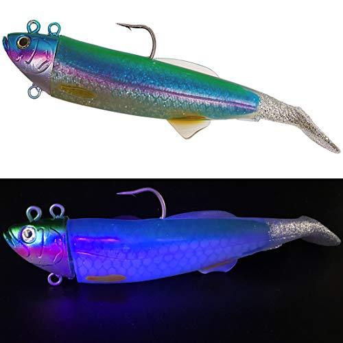 Mega Fishing Norwegen UV Shad Meeresköder - Gummifisch + Jigkopf - Dorsch Köder - 20cm & 26cm (Fluo Blau-Silber 3D, 26cm / 455g)