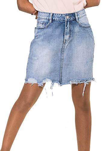 Nina Carter Damen Fransen Jeans Rock Destroyed Midi Skirt D2354, Farben:Blau, Größe Damen:34 / XS Carter Jeans