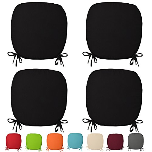Beautissu® Stuhlkissen Lara 38x38x1,5cm Sitzkissen für Stühle für Indoor & Outdoor mit Oeko-Tex Siegel Schwarz