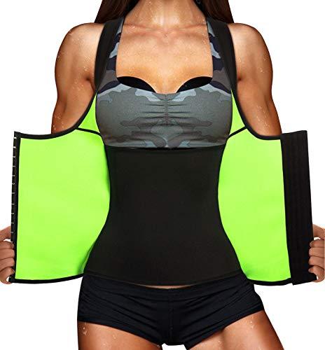 Chumian Damen Neopren Sauna Sweat Figurformend Unterbrustkorsett Abnehmen Shapewear Training Tank Top Weste (Schwarz, L)