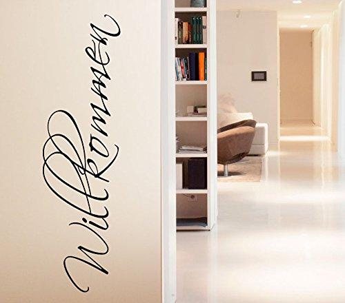 Wandtattoo-Günstig G089 Wort Willkommen Wandaufkleber Wandsticker Flur Wohnzimmer lavendel (BxH) 34 x 120 cm
