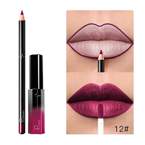 PNING Langlebiger Lippenstift-wasserdichte Mattflüssigkeits-Glanz-Lippenkontur-Kosmetik Satz Taust die Lippen in sinnlichem, warmem Nude, mit Matt-Finish, feuchtigkeitsspendendem Lippenstift