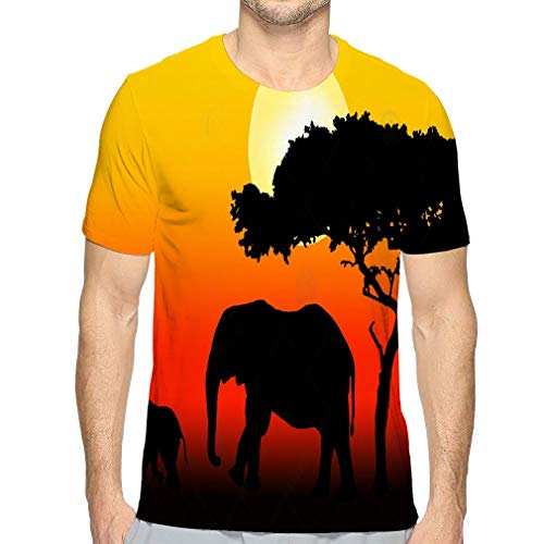 Men's Casual Short Sleeve T-Shirts Shirts Elephant Family Walking Ideal -