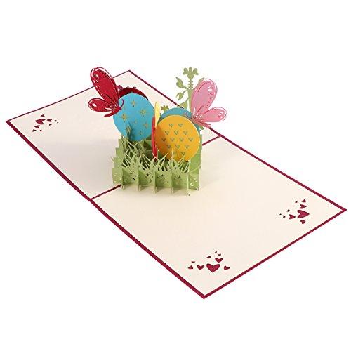 oulii 3D Ostern Bunny und Eier Blumen Einbauöffnungen Pop bis Ostern Karten handgefertigt Grußkarten Urlaub Geschenk für Ostern (rot)