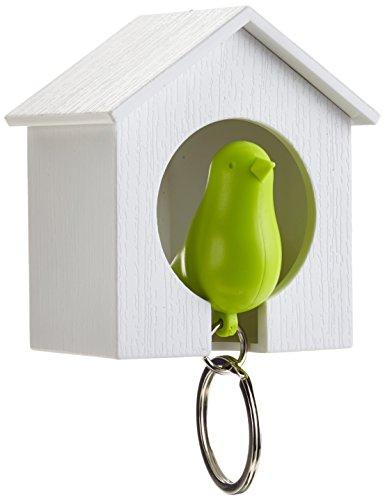 Unbekannt Qualy QL10091W-G Schlüsselhalter anhänger und Trillerpfeife Sparrow Key Ring, weiß/grün