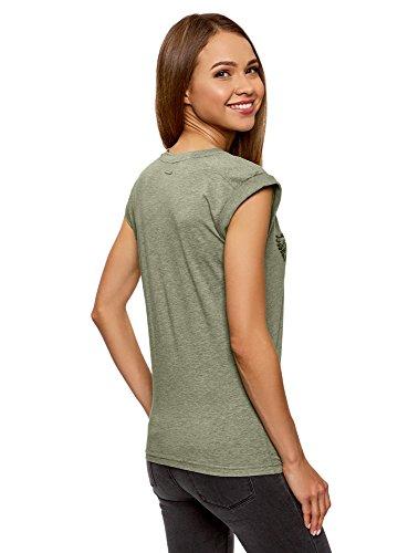 oodji Ultra Damen T-Shirt mit Druck und Aufschlägen auf Den Ärmeln Grün ( 66A0P