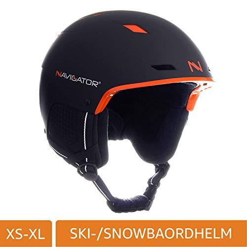 NAVIGATOR - Casque de Ski/Snowboard TUKAN - Ajustable - Plusieurs Couleurs Disponibles - XS-XL (Noir/Orange, M-XL (58-62cm))