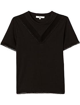 FIND T-shirt Donna con Inserto a Rete e Passamaneria