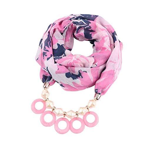 Oliviavan Damen Halskette Schal Harz Anhänger Ring Lätzchen Anhänger Halskette Schmuck Halstuch mit Abnehmbarer Anhänger Farben auswählbar Blumen Leinen Schals180x48cm