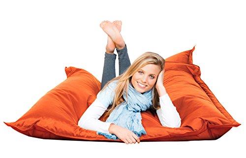 PROCAVE FETTI Sitzsack orange in 140 x 180 cm mit Füllung | Riesensitzsack | Indoor | Outdoor | XXL Sitzsack | Riesenkissen | Sitzkissen