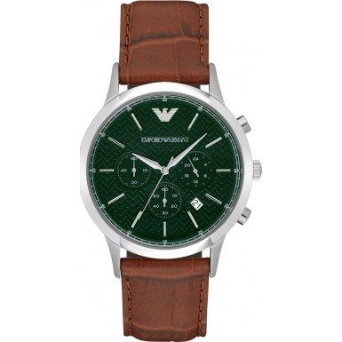 Emporio Armani Herren-Armbanduhr Chronograph Quarz Leder AR2493