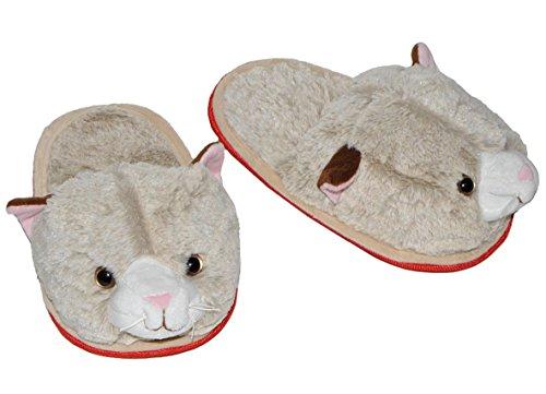 Hausschuh / Pantoffel - Katze - Größe Gr. 29 30 31 32 33 34 - Plüschhausschuh für Kinder Erwachsene Hausschuhe Tiere Tier