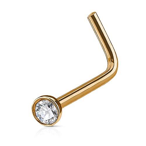 Autiga Nasenpiercing Stecker Nasenstecker Stift Nasen Piercing Gebogen L-Form Zirkonia Kristall roségold-Klar 0,8 mm (Klare Nase Piercing Stud)