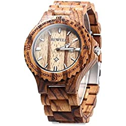 NectaRoy Handmade Wooden Wristwatches Date Function Adjustable Wood Band Watch Zebra Wood Watches as Gifts