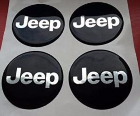 JEEP ★4 Stück★ 60mm Aufkleber Emblem für Felgen Nabendeckel - Schwarz Nabendeckel Jeep