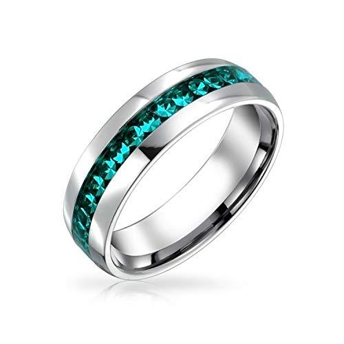 Bling Jewelry März Aqua Color Kanal EIN Kristall Der Ewigkeit Band Ewigkeitsring Für Damen Herren Silber Getönt Aus Rostfreiem Stahl