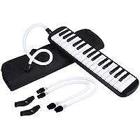 Asmuse™ Melodica 32 Teclas Estilo Piano Harmónica Órgano Bucal Con boquilla y manguera de soplado, Incluye una bolsa para transporte para Principiantes Niños Amantes Musicales Regalo Musical-Negro