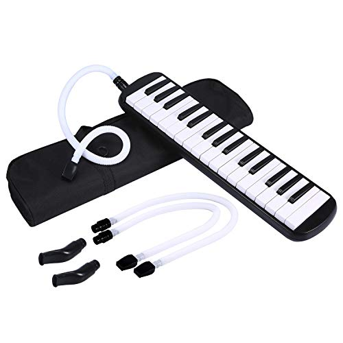 AsmuseTM 32 Note Melodica Nasum Melodika Kinder Black Includes Tube Mouthpiece and Carry Case