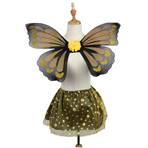 BESTOYARD 2pcs Girls Fairy Butterfly Costume Monarch Butterfly Wings and Tutu Skirt Set
