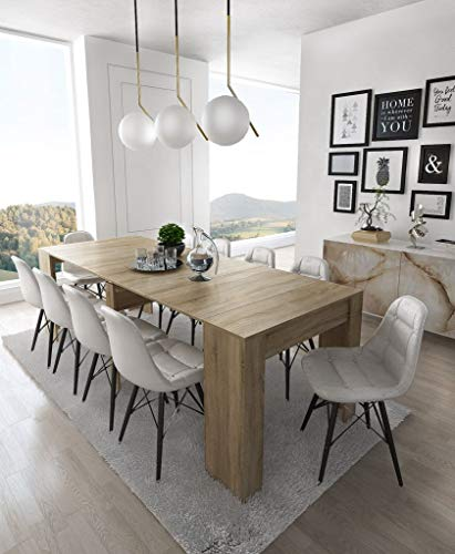 Home Innovation- Konsoletisch, Esstisch ausziehbar bis 237 cm, Esszimmertisch und Wohnzimmertisch, rechteckig, Farbe Eiche hell, Maße geschlossen: 90x50x78 cm hoch. Bis zu 10 Sitzplätze - Große Rechteckige Esstisch