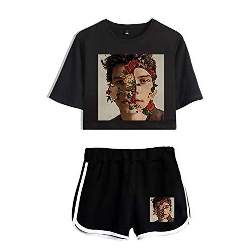 JJZHY JJZHY Shawn Mendes Fashion Einfaches Crop Top und Shorts Set Women, C,XS