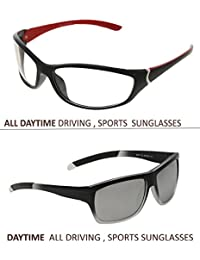Vast Combo Of 2 All Day And Night Vision Biking, Driving And Sports Wayfarer Unisex Sunglasses (5307BLK_PREMBLKRED)