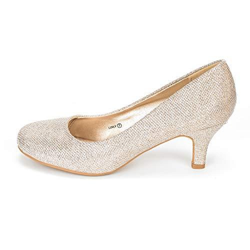 DREAM PAIRS LUVLY Damen Pump mit Niedriger Absatz Braut Hochzeit Party Schuhe Gold 42.5 EU (Weihnachten Kleider Gold)
