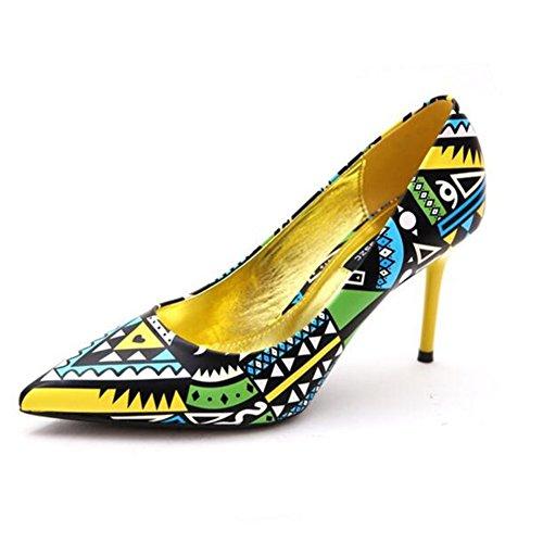 YIXINY Pumps Ethnischer Stil Mischfarben High Heels Damenschuhe Stilett Flacher Mund Party Datierung ( Farbe : Gelb , größe : EU36/UK3.5/CN35 )