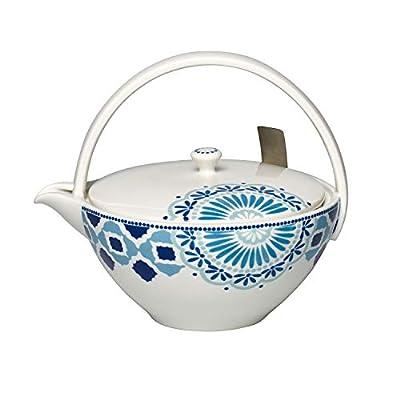Villeroy & Boch Tea Passion Medina Théière avec filtre, 1 l, Porcelaine Premium/Acier inoxydable, Blanc/Bleu