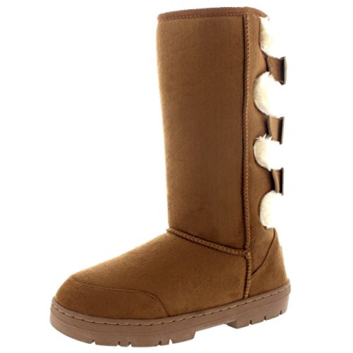 Holly Damen Pelz Sitefel Three Buckle Back Wasserdicht Winter Schnee Sitefel - Leicht Gebräunt - UK6/EU39 - BA0475 (Buckle Boots)
