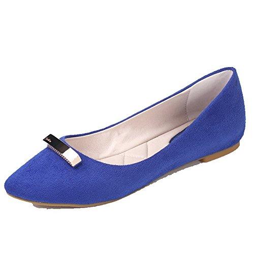 VogueZone009 Donna Pelle Di Mucca Chiodato Tirare Scarpe A Punta Tacco Basso Ballerine Azzurro