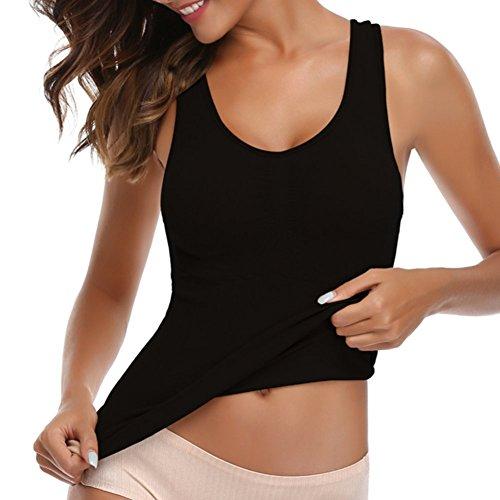 Miss Moly Damen Bodyforming Hauteng Top Unterhemd Seamless Mieder Hemd  -Schwarz- Medium