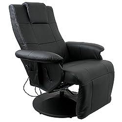 Luxury Shiatsu massage armchair Relaxing armchair Relaxing armchair TV armchair with massage Heated seat adjustable footrest Legrest PU Synthetic leather Black