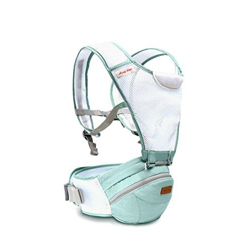 SONARIN 360°Breathable Premium Hipseat Baby Carrier,Babytrage,Ergonomisch, Mama Tasche,Breathable Mesh Backing,Gemütlich & Beruhigend für Babys, Angepasst an Ihr Kind wachsende,Ideal Geschenk(Grün)