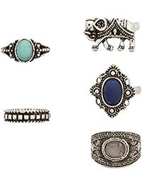 idealway Juego de joyas de estilo vintage/bohemio, aleación de plata chapada en turquesa, resina, cuentas, anillos para nudillos