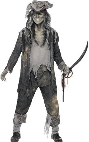 Zombie Geister Pirat Halloween Kostüm grau L (Graue Geist Kostüm)