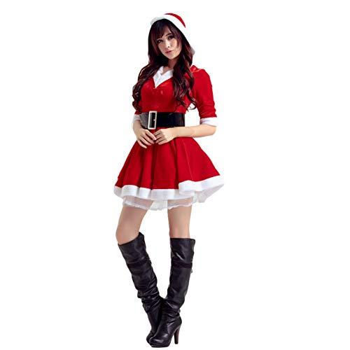 GSDZN - Weihnachtsmann Damen Kostüm, Gürtel, Kleid, Santa, Weihnachten, Einheitsgröße, Passend S-XL,Red (Kostüme Passende Damen)